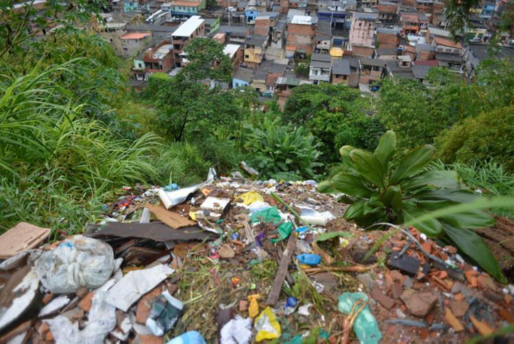 Vila Picasso, em São Caetano, foi uma das localidades com alerta de deslizamento nesta sexta - Foto: Shirley Stolze | Ag. A TARDE