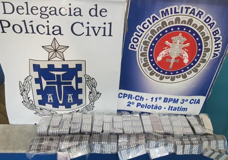 Comprimidos apreendidos serão encaminhados para a perícia - Foto: Divulgação | Polícia Civil