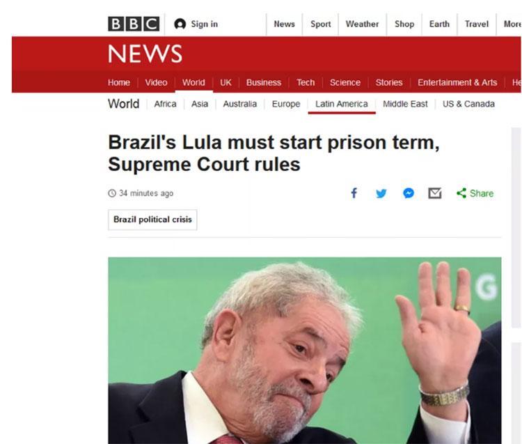 BBC repercutiu decisão do STF sobre Lula
