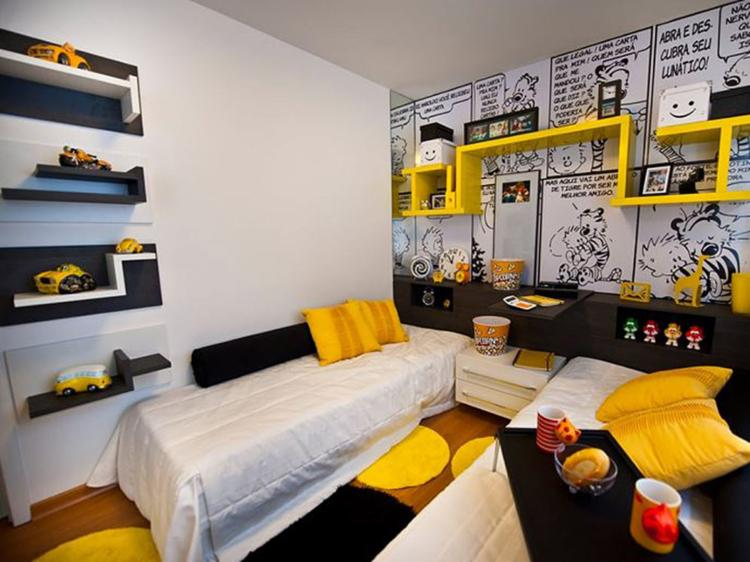Márcia Campetti criou o quarto para dois irmãos com temática de Calvin e Haroldo - Foto: Divulgação l Estúdio Campetti