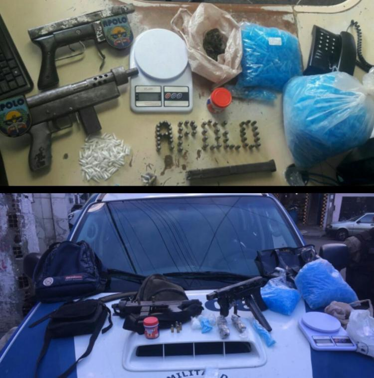 Mais de 100 pinos com cocaína também foram apreendidos - Foto: Divulgação | Polícia Militar