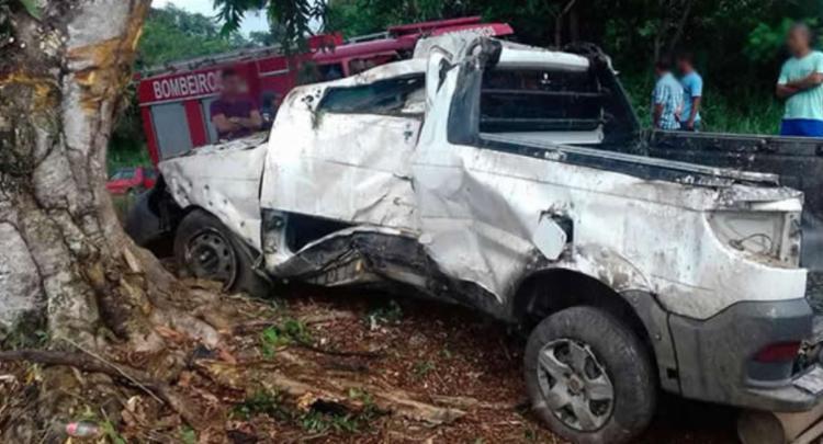 Caminhonete colidiu em uma árvore - Foto: Reprodução   Teixeira News