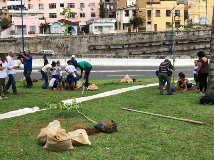 Estudantes participaram do plantio no final da Via Expressa - Foto: Nágila Santana | Ag. A TARDE