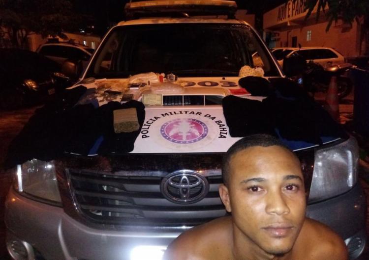 Rodolfo foi detido com maconha, cocaína e munições - Foto: Divulgação | SSP