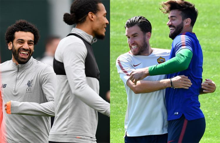 De um lado, o egípcio Salah é a esperança de gols no Liverpool; do outro, o brasileiro Alisson tem a missão de parar o trio de ataque rival - Foto: Paul Ellis e Alberto Pizzoli l AFP