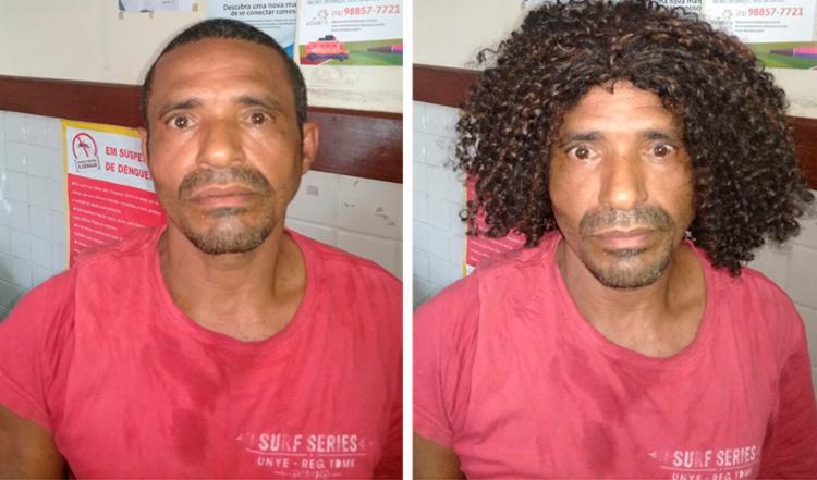 Suspeito foi preso em flagrante enquanto usava uma peruca - Foto: Divulgação | SSP