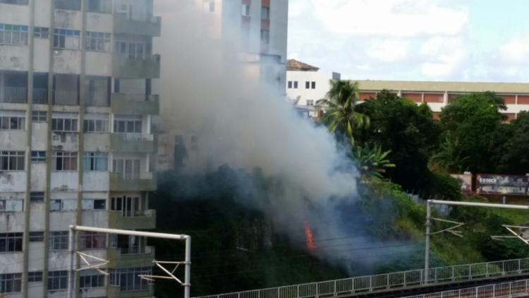 Fogos atingiram a área de vegetação perto da Arena Fonte Nova - Foto: Thaís Seixas | Ag. A TARDE