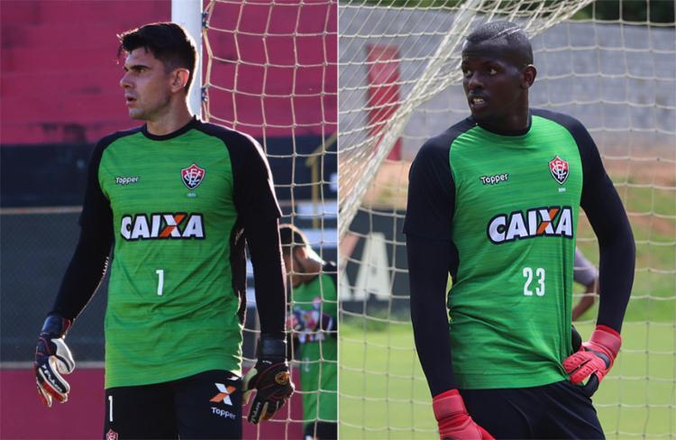Goleiros Fernando Miguel e Caíque (D) têm sido motivo de dor de cabeça para os rubro-negros - Foto: Maurícia da Matta l EC Vitória
