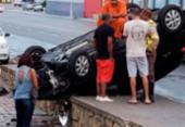 Veículo capota no Jardim dos Namorados; ninguém ficou ferido | Foto: Cidadão Repórter | Via WhatsApp