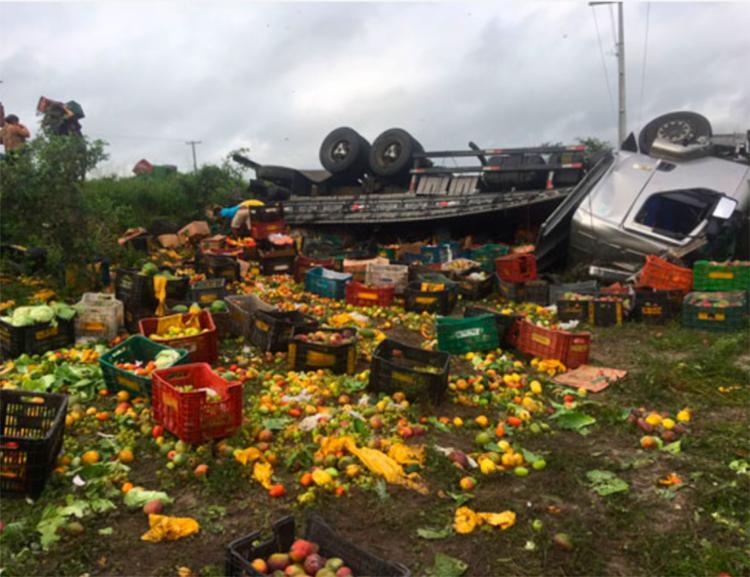 O acidente aconteceu por volta das 1h20, no trecho entre os municípios de Santaluz e Valente - Foto: Reprodução | Notícias de Santaluz