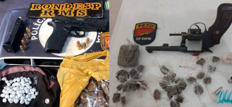 Armas e drogas foram apreendidas nas ações - Foto: Divulgação | SSP-BA
