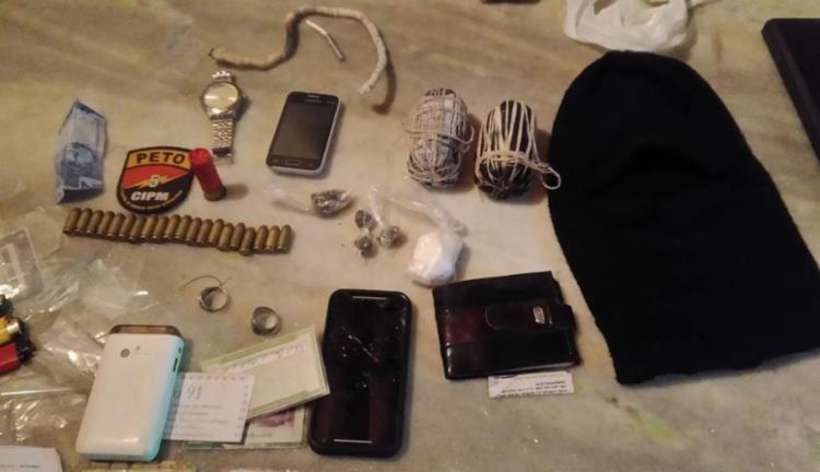 Explosivos, drogas e munições foram apreendidas com presos - Foto: Divulgação | SSP