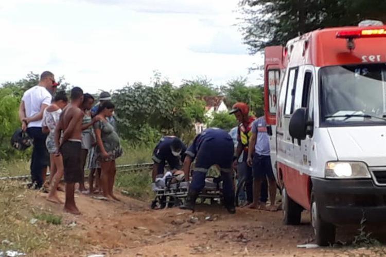 Vítima foi atendida pelo Serviço de Atendimento Móvel de Urgência - Foto: Reprodução   Brumado Urgente