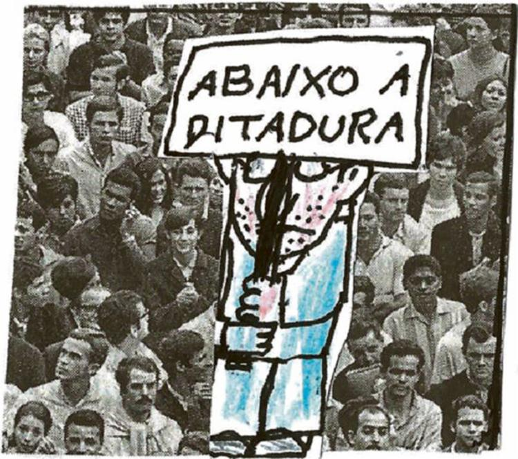 Palavras de ordem contra a ditadura - Foto: Jagar l Editoria de Arte A TARDE