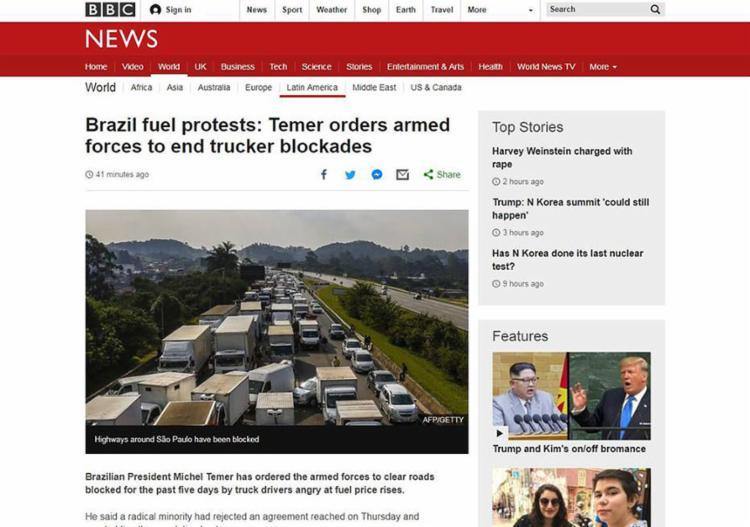 Na britânica BBC, a cobertura destaca a orientação da Abcam aos caminhoneiros em liberar as pistas, após o anúncio de Temer - Foto: Reprodução l BBC