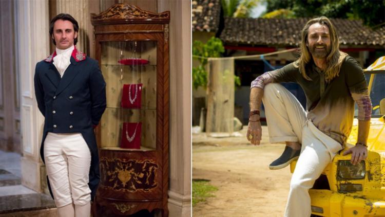 André Dias, que fez a primeira aparição em Novo Mundo (cabelo curto), agora está em Segundo Sol - Foto: Reprodução