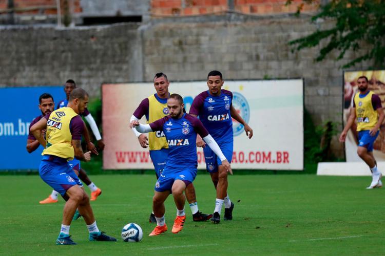 Os jogadores realizaram atividade tática no Fazendão - Foto: Felipe Oliveira | EC Bahia