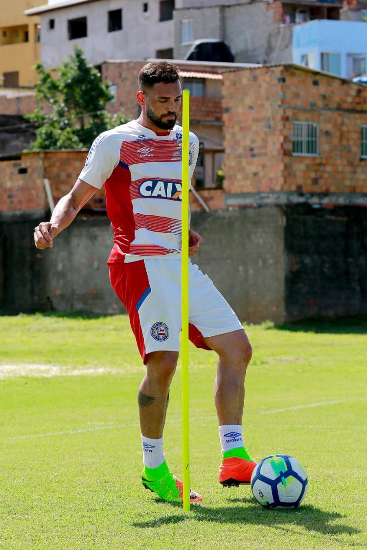 Atacante, que já treina no Fazendão, chegou prometendo gols - Foto: Felipe Oliveira l EC Bahia
