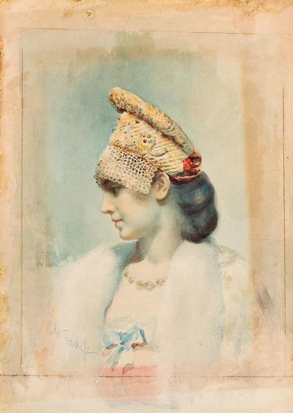 Retrato feito à mão de uma menina usando um Kokoshnik. Foto: David Tolley|