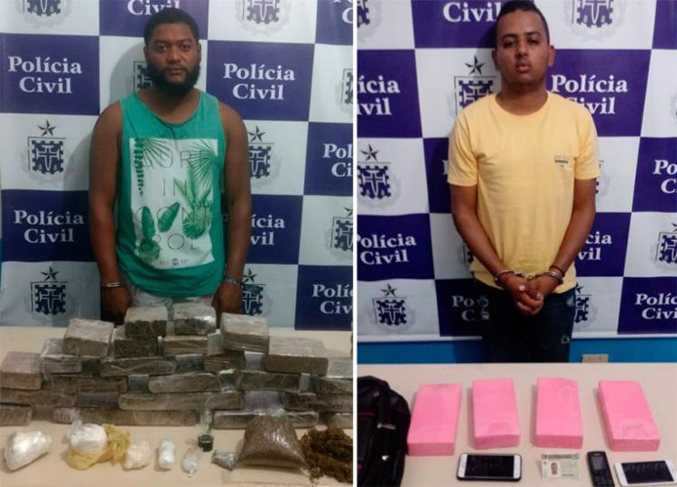 Helton e Jaedson foram flagrados com parte da droga na BR-324 - Foto: Divulgação | SSP-BA