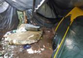 Acampamento usado por traficantes é localizado no Rio Sena   Divulgação   SSP-BA
