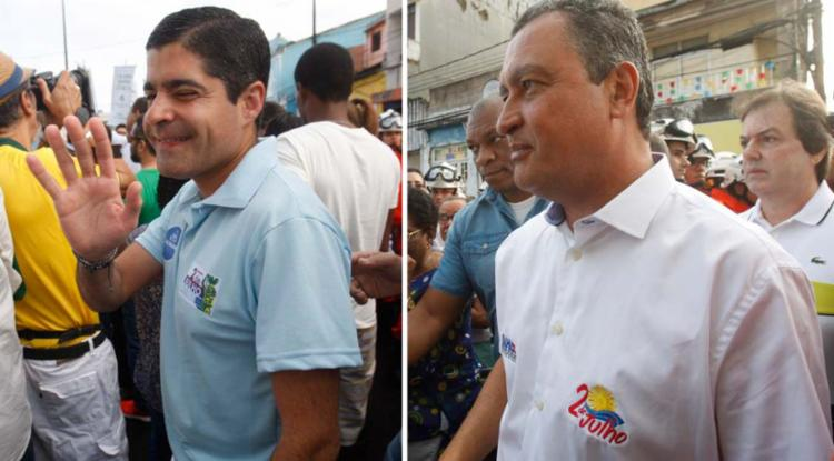 ACM Neto e Rui Costa durante desfile da Independência da Bahia - Foto: Luciano da Mata | Ag. A TARDE