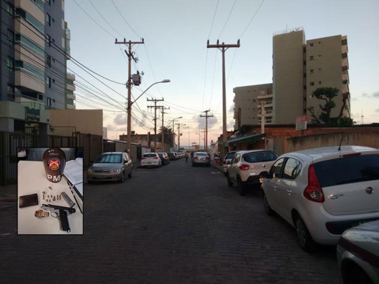Tentativa de assalto ocorreu na rua Rodrigues Dórea, uma via sem saída; suspeito baleado portava pistola com carregador equipado com 13 munições - Foto: Euzeni Daltro l AG. A TARDE