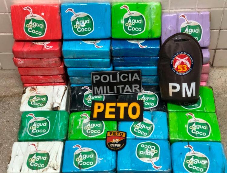 Polícia localizou 36 kg de pasta de cocaína em Mata de São João - Foto: Divulgação | SSP