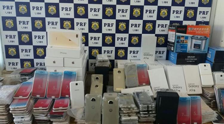 Os materiais apreendidos foram encaminhados à Receita Federal de Conquista - Foto: Divulgação | PRF