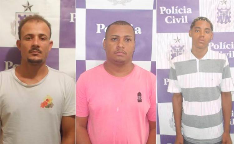 Tiago (à esq.) Felipe (centro) e Cristiano (à dir.) continuam foragidos - Foto: Reprodução | Polícia Civil