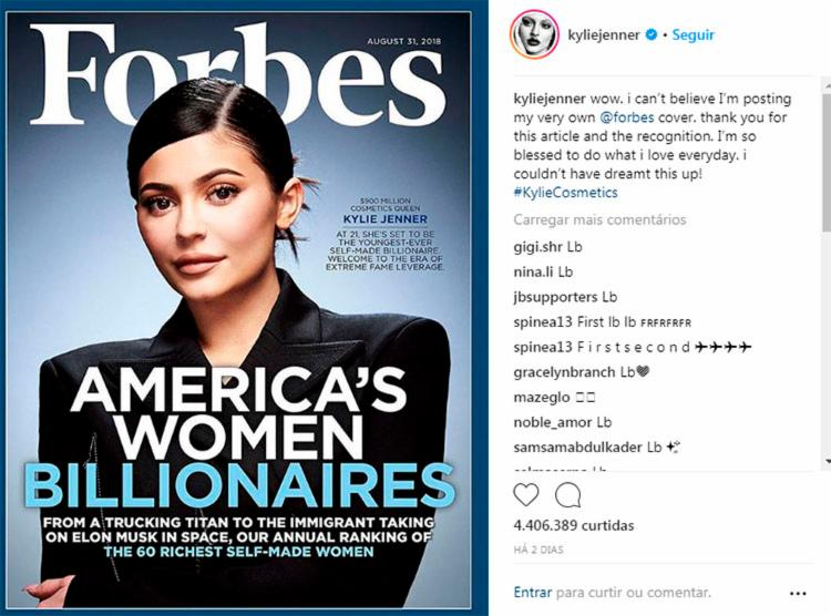 Kylie publicou na sua conta do Instagram a capa da revista