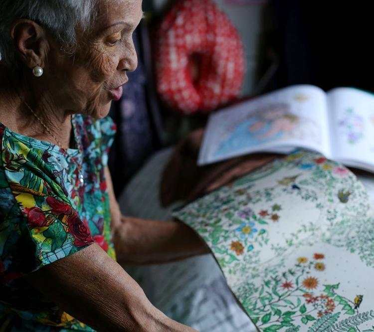 Vera Lúcia Laranjeiras, 75, gosta de pintar para afugentar a tristeza