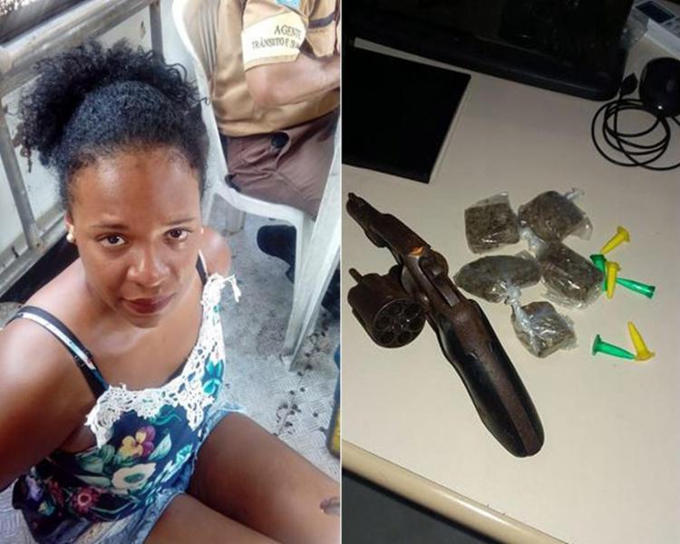 Lorena ia pra casa, esconder a arma e as drogas; foram apreendidos cinco dolões da erva, seis pinos de cocaína e o revólver calibre 38 - Foto: Divulgação l SSP-BA