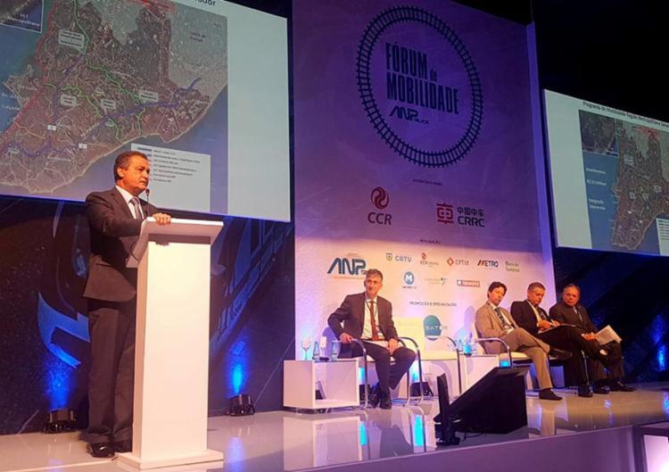 Governador fala no evento sobre o metrô de Salvador - Foto: Reprodução l ANP Trilhos l Facebook