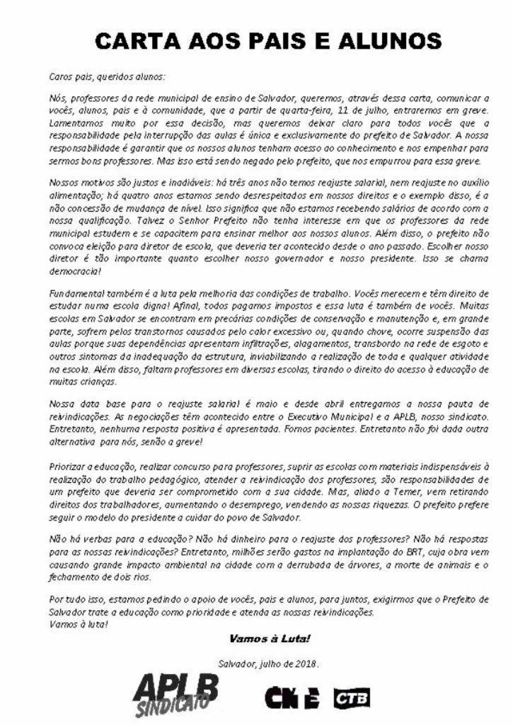 Carta cita as motivações da greve dos professores