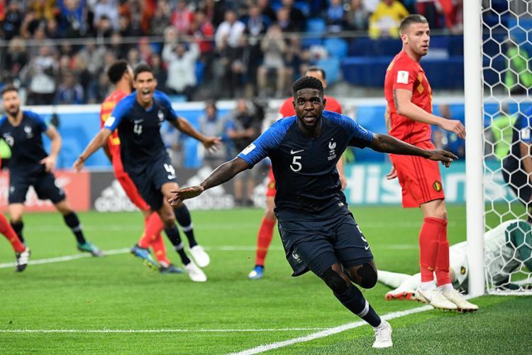 Umtiti marou o gol que garantiu a seleção francesa na decisão de domingo - Foto: Christophe Simon l AFP