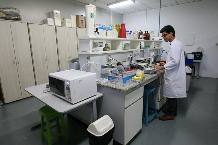Estudante no laboratório do Instituto de Biologia da Universidade Federal da Bahia (Ufba), onde o arrocho de verbas para pesquisa tem ocorrido desde 2015 - Foto: Margarida Neide l Ag. A TARDE