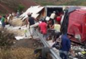 Carreta carregada de peixes é saqueada após tombar na BR-101 | Foto: Reprodução | Teixeira News | Cocobongo