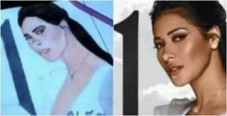 Imagem desenhada pelo artista e foto real da cantora - Reprodução