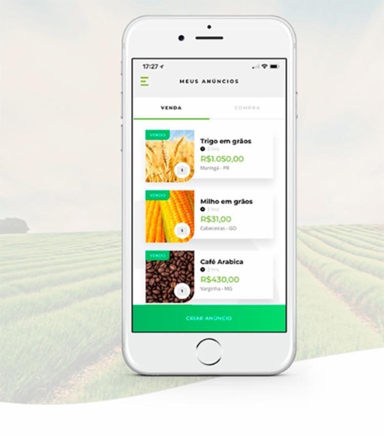 AS ofertas da plataforma são implementadas pelos próprios ofertantes a partir dos seus smartphones e tablet - Foto: Reprodução | Site Bolsa Agro