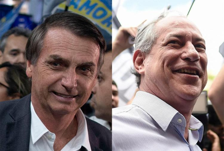 Em Porto Alegre, o candidato do PSL rebateu o concorrente do PDT, que o chamou de 'projetinho de Hitler tropical' - Foto: Mauro Pimentel e Douglas Magno l AFP