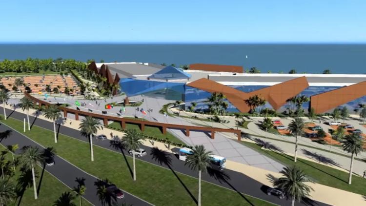 Projeção mostra como será o novo Centro de Convenções, que vai ocupar a área do antigo Aeroclube - Foto: Reprodução | Youtube