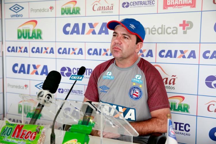 Treinador aproveitou ainda para valorizar seus atletas e destacar a pressão que o Bahia vem sofrendo - Foto: Felipe Oliveira | Divulgação | E. C. Bahia