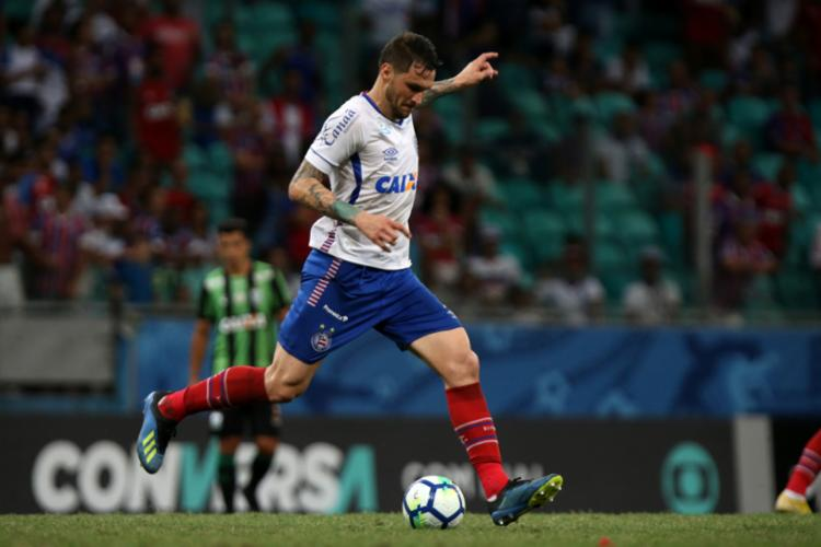 Tiago está suspenso e não enfrenta a equipe mineira - Foto: Felipe Oliveira | Divulgação | E. C. Bahia