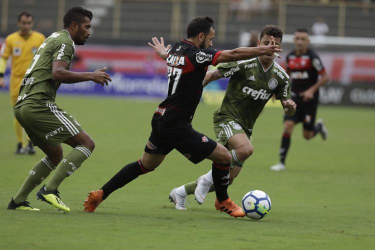 palmeiras dominou a partida e volta para casa com os três pontos - Foto: Adilton Venegeroles l Ag. A TARDE
