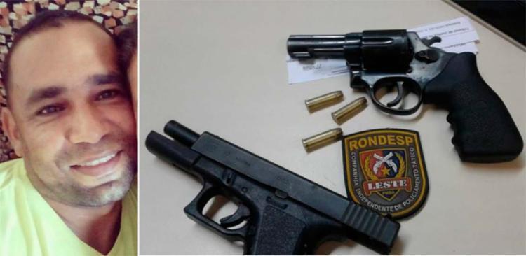 Elton Messias da Cruz e as armas usadas no assalto e na troca de tiros com policiais
