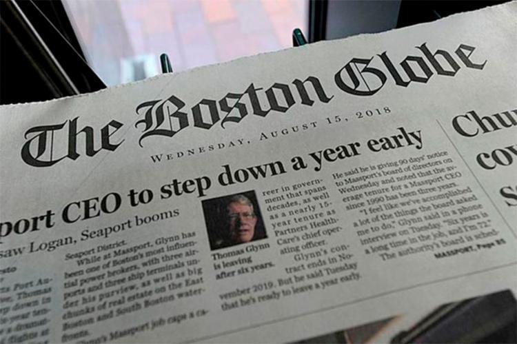 The Boston Globe convidou jornais em todo o país em defesa da imprensa com os editores nesta quinta-feira - Foto: Reprodução