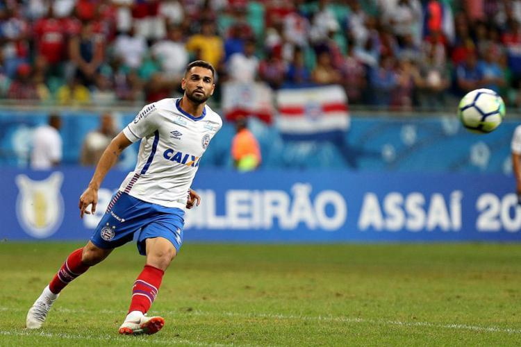 O atacante Gilberto marcou o único gol da partida - Foto: Felipe Oliveira l Ag. A TARDE