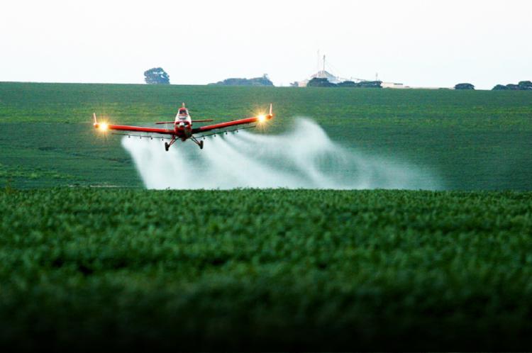 O glifosato é jogado para eliminar a cobertura vegetal ou plantas daninhas que ficam no solo - Foto: Reprodução | Cenipa