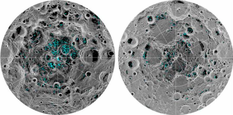 Depósitos de gelo foram encontradas nos pólos norte e sul do satélite natural da Terra - Foto: Nasa